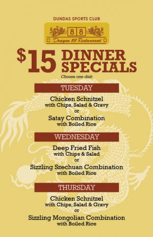 Weekday Dinner Specials in April