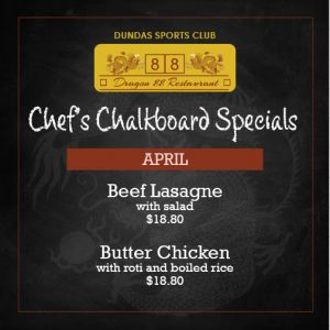 Chef's Chalkboard Specials in April